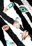 Kolaż w moda magazynu stylu z szalonymi dziewczyn wargami, oczami i r fotografia stock
