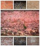Kolaż wiele obrazki z czerepami ściany z cegieł diff zdjęcia stock