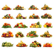 Kolaż wiele różni owoc i warzywo Zdjęcia Stock