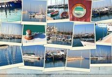 Kolaż z jachtami, łodziami i brzegowym Nautycznym pojęciem, zdjęcia stock