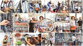 Kolaż z obrazkami w bicyklu sklepie: sprzedaż i naprawa - po Zdjęcie Stock