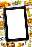 Kolaż z różnorodnym zdrowym jedzeniem i pastylką Obraz Stock
