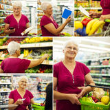 Kolaż z starszą kobietą w sklepu spożywczy sklepie zdjęcie stock