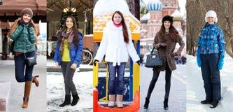Kolaż zimy moda młode piękne kobiety obrazy royalty free
