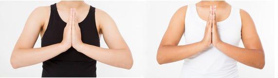 Kolażu lub setu zakończenia ręki czarna azjatykcia japońska kobieta w ubraniach medytuje indoors, ostrość na rękach w Namast obrazy stock