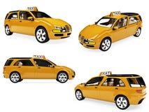 kolażu pojęcie odizolowywający taxi kolor żółty Zdjęcie Royalty Free