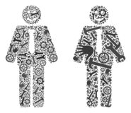 Kolażu szefa Szczęśliwe ikony Usługowi narzędzia royalty ilustracja