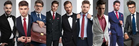 Kolażu wizerunek dziewięć różnych przypadkowych mężczyzn jest ubranym kostiumy zdjęcia royalty free