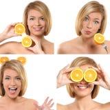 kolażu wizerunków pomarańcz kobieta zdjęcia royalty free