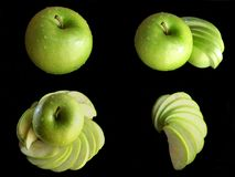 Kolażu zielony jabłko odizolowywający na czarnym tle obraz stock