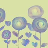 Kolaży kwiaty na koloru koloru żółtego tle i serca royalty ilustracja