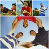 Kolaży przyjaciół szczęśliwy młody relaksować Zdjęcia Stock