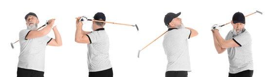 Kola? bawi? si? golfa na bielu starszy m??czyzna obrazy royalty free