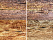 Kolaż cztery drewnianej tekstury Obrazy Stock