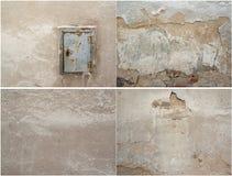 Kolaż cztery tekstura stary tynku i metalu drzwi obraz royalty free