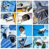 Kolaż kamera bezpieczeństwa i miastowy wideo Zdjęcie Royalty Free