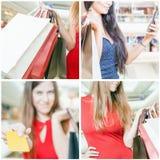 Kolaż kilka fotografie dla robić zakupy pojęcie z torbami Zdjęcie Royalty Free