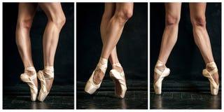 Kolaż klasyczne balerin nogi w pointes dalej Zdjęcie Stock