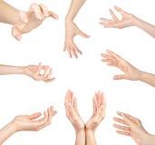Kolaż kobiet ręk gesty ustawiający, na bielu Obrazy Royalty Free