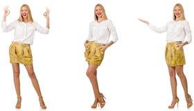 Kola? kobieta w mody spojrzeniu odizolowywaj?cym na bielu obraz stock