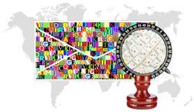 Kolaż kula ziemska koperta i mapy kontynenty, Zdjęcia Royalty Free