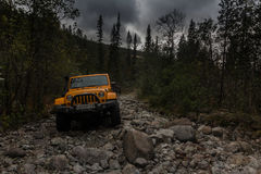 Kola Peninsula, Murmansk region, Russia, September 12, 2016, off-road expedition in a jeep on the Kola Peninsula, the Jeep Wrangle. Jeep Wrangler in the Stock Photos