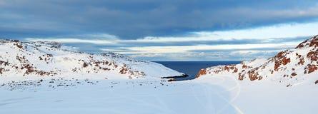 Kola Peninsula. Russian polar region, рanorama of the Kola Peninsula facing the Barents sea the Arctic ocean, Murmansk oblast royalty free stock images