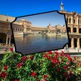 Kolaż placu De Espana Spain kwadrat Seville, Andalusia, Hiszpania Zdjęcie Royalty Free