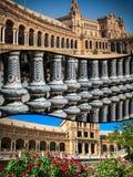 Kolaż placu De Espana Spain kwadrat Seville, Andalusia, Hiszpania Obrazy Stock