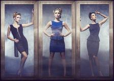 Kolaż pozuje w eleganckich sukniach młoda kobieta Fotografia Stock
