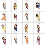 Kolaż różni nastolatkowie trzyma sztandary Zdjęcia Stock