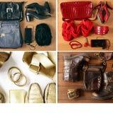 Kolaż, set mody przypadkowy set odziewa - cajgi, buty Zdjęcia Royalty Free