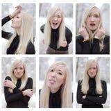 kolażu faceexpressions kobieta Zdjęcia Stock