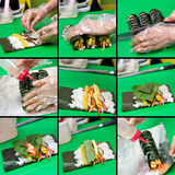 kolażu kimbap robienie Zdjęcia Stock