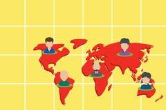 Kola?y wieloetniczni ludzie na ?wiatowej mapie Kolekcji osoby r??ni portrety umieszczali pi?? kontynent?w international ilustracji
