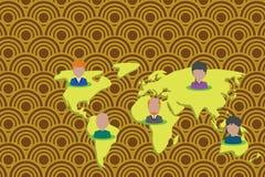 Kola?y wieloetniczni ludzie na ?wiatowej mapie Kolekcji osoby r??ni portrety umieszczali pi?? kontynent?w international royalty ilustracja