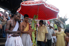 The Kolabau ritual at the river Ganga Stock Photo