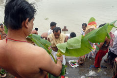 The Kolabau ritual at the river Ganga Stock Images