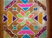Kolam. Creating various patterns with Colors is an ancient tradition of Indian culture still followed stock images