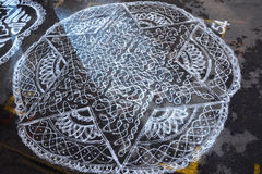 Kolam. Drawing on the streets of Chennai, India Stock Photography