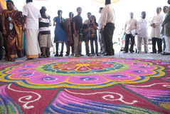 Kolam, the Hindus decorations Stock Photo