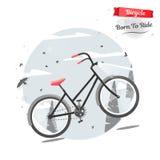 Kolarstwa pojęcie Bicykl w naturze Wektorowa jaskrawa ilustracja rower Modny styl dla graficznego projekta, logo, strona internet Zdjęcie Stock