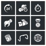 Kolarstwo ikony również zwrócić corel ilustracji wektora ilustracji