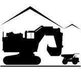 Grävskopan och åker lastbil vektor illustrationer