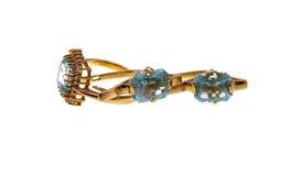kolczyków złocistego pierścionku kamień Obrazy Royalty Free