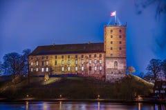Koldinghus夜HDR照片一座老城堡在科灵丹麦 免版税库存图片