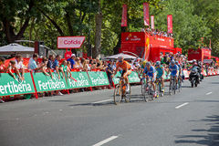 Koldo fernandez. MADRID - SEPTEMBER 9: Spanish Vuelta (cycling), Koldo Fernandez  (euskaltel team) leading the breakaway group in the final stage of the vuelta Royalty Free Stock Photo