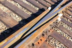 Kolej Część kolejowi ślada, poręcze, taborowy ruch drogowy Fotografia Stock