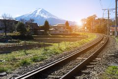 Kolej Mt Fuji w Japan obrazy royalty free