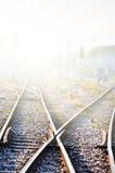 Kolej w mgle Zdjęcia Stock